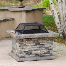 outdoor stone fire pit. Best Selling Home Decor 29-in W Natural Stone Cement Wood-Burning Fire Pit Outdoor