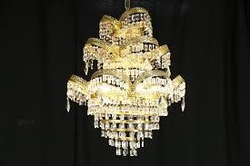 art deco or mid century modern vintage chandelier crystal prisms