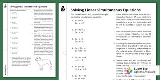solving linear simultaneous equations