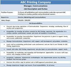 Duties Of A Marketing Consultant Emp Job Desc Hr Sample Resume Job Description Resume