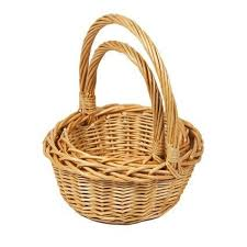 woodluv set of 2 rnd small wicker her gift basket with long carry handles na