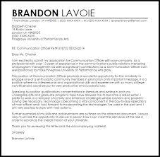 Communication Cover Letter Communication Officer Cover Letter Sample Cover Letter Templates