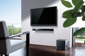 flat screen tv on wall with surround sound. sound bar flat screen tv on wall with surround