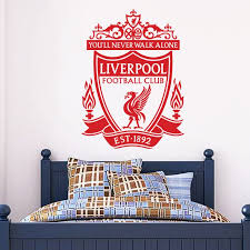 the official home of football wall stickers liverpool football club one colour crest wall sticker the beautiful game