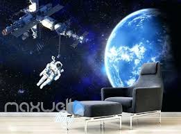 graphic art design spaceship and astronaut on space wall murals wallpaper decals prints decor m
