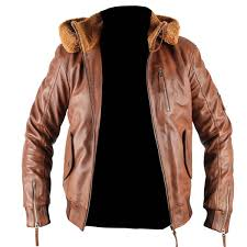 mens safari tan hooded genuine leather jacket with fur lining home