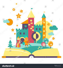 imagination concept open book fairy tale characters the castle flat style