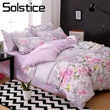 solstice home textile king full bed linen suit purple flower duvet cover flat sheet pillowcase girl teen woman bedding set duvet cover set girls