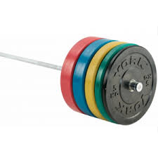 york weights. york 170kg olympic coloured rubber bumper plate set weights