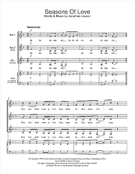 rent seasons of love sheet music seasons of love from rent choral ssa sheet music by by jonathan