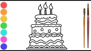 Htoyart | Vẽ bánh sinh nhật đơn giản và tô màu cho bé