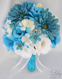 Turquoise And White Wedding Decorations 17 Piece Package Wedding Bridal Bride Bouquet Silk Flower