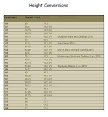 Sable Ranch Friesian Horses Height Conversion Chart