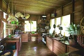 Tropical kitchen with natural wood, bamboo, and rattan decor