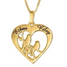 love birds double name necklace gold vermeil