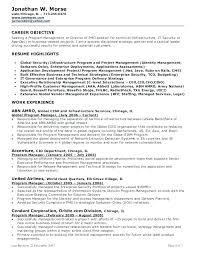 Project Management Objective Resume Management Objectives Resume