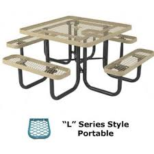 picnic tables thermoplastic coated 46 square l series picnic table portable