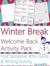 welcome back from winter break no prep ela activities winter  welcome back from winter break game compare contrast wr