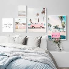 Pink Bus Sky Sea Beach Coconut <b>Palm Tree</b> Quote <b>Nordic</b> Posters ...