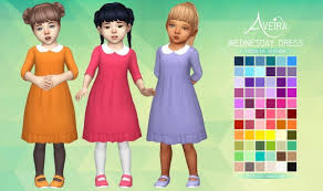 aveira sims 4 wednesday dress for toddlers