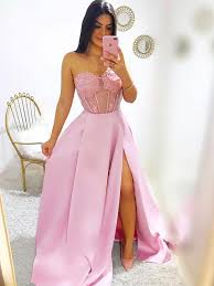 Prom Dress Color Chart Sweetheart Neck Pink Lace Prom Dresses Long Pink Lace Formal Graduation Evening Dresses