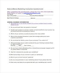 7 Marketing Questionnaire Examples Samples Examples