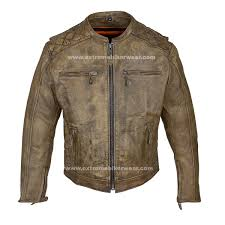 mens distressed brown leather motorcycle jacket with diamond pattern
