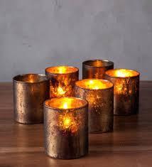 mercury glass candle holders small gold set of 6 australia