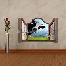 kid birthday party decoration 3d three dimensional home wall stickers cow ceiling floor wallpaper wall