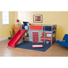 Boys&apos Fire Department Twin Metal Loft Bed with Slide Red