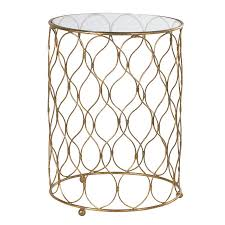 round gold metal glass side table side tables
