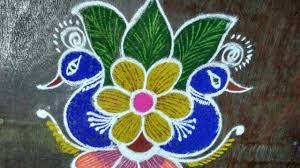 Sankranthi Designs With Dots Colourful Peacock Flower Rangoli Kolam Rangoli Designs