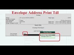 Envelopes Address Print Tally Tdl For Envelope Printing Tally Add On For Envelope Printing
