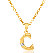 9ct yellow gold pendant initial c set with diamond 10002211 jewellery shiels jewellers