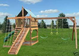 swingset kit playset slide plans diy wooden playground
