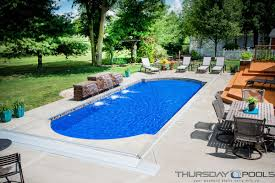 Medium Pool Designs This Backyard Has A Cathedral Fiberglass Pool Design By