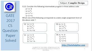 3 Address Code In Compiler Design Gate 2017 Cs Q12 Consider The Following Intermediate Program In Three Address Code
