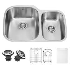 vigo 30 inch undermount 70 30 double bowl 18 gauge stainless steel kitchen sink with two grids and two strainers double bowl sinks com