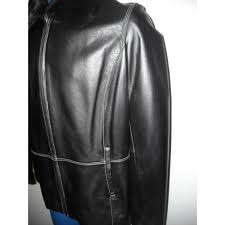 womens black genuine leather jacket with detachable fur collar by colebrook and company