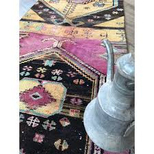 purple w black bohemian vintage turkish runner rug 32 x12