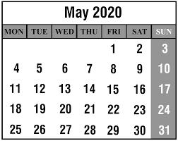 Calendar May 2020 Download May 2020 Calendar Printable Templates Pdf Excel