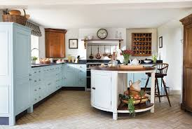 baby blue cabinets in country style kitchen