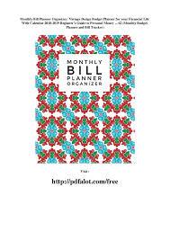 Monthly Bill Planner Organizer Vintage Design Budget Planner