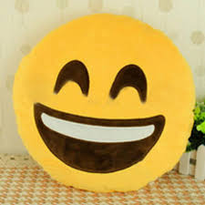 Round Decorative Pillows Cute Emoji Expression Emoticon Yellow Round Stuffed Plush Cushion