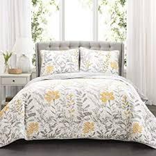 Image White Comforter Lush Decor Aprile Reversible Quilt Piece Floral Leaf Design Bedding Setfull Queen Amazoncom Amazoncom Yellow Comforters Sets Bedding Home Kitchen