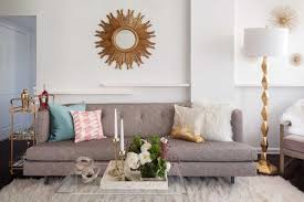glam it up with gold decor living room with gray sofa