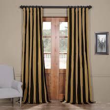 exclusive fabrics black gold stripe faux silk taffeta curtain panel