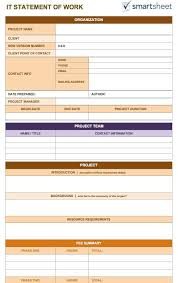 It Statement Of Work Statement Of Work Template 8 Free Word Excel Pdf Template Section