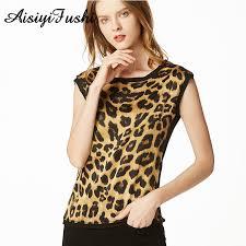 <b>Women's Leopard</b> Print Silk <b>Blouse</b> Summer <b>Leopard Chiffon Shirt</b> ...