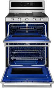 kitchenaid 6 0 cu ft self cleaning free standing double oven gas convection range silver kfgd500ess best